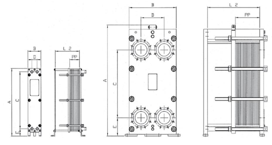 Габаритные размеры теплообменника Funke FP 04-16