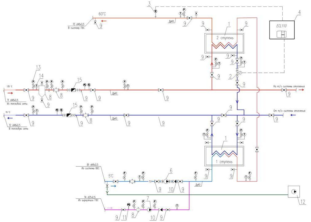 Схема подключения теплообменника по двухступенчат