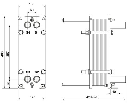 Паяный пластинчатый теплообменник Ридан XB66L Орёл Подогреватель высокого давления ПВ-350-230-21-3 Новотроицк