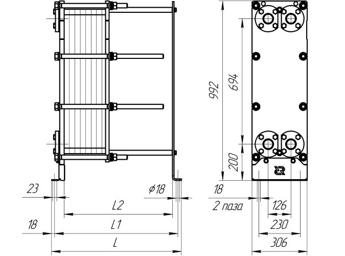 Уплотнения теплообменника Ридан НН 152 Бузулук стальной корпус теплообменника