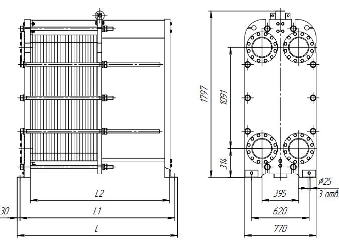 Пластины и уплотнения Ридан НН Липецк Подогреватель высокого давления ПВ-1550-380-70-1 Липецк
